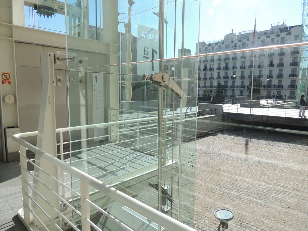 Going up: glass elevator
